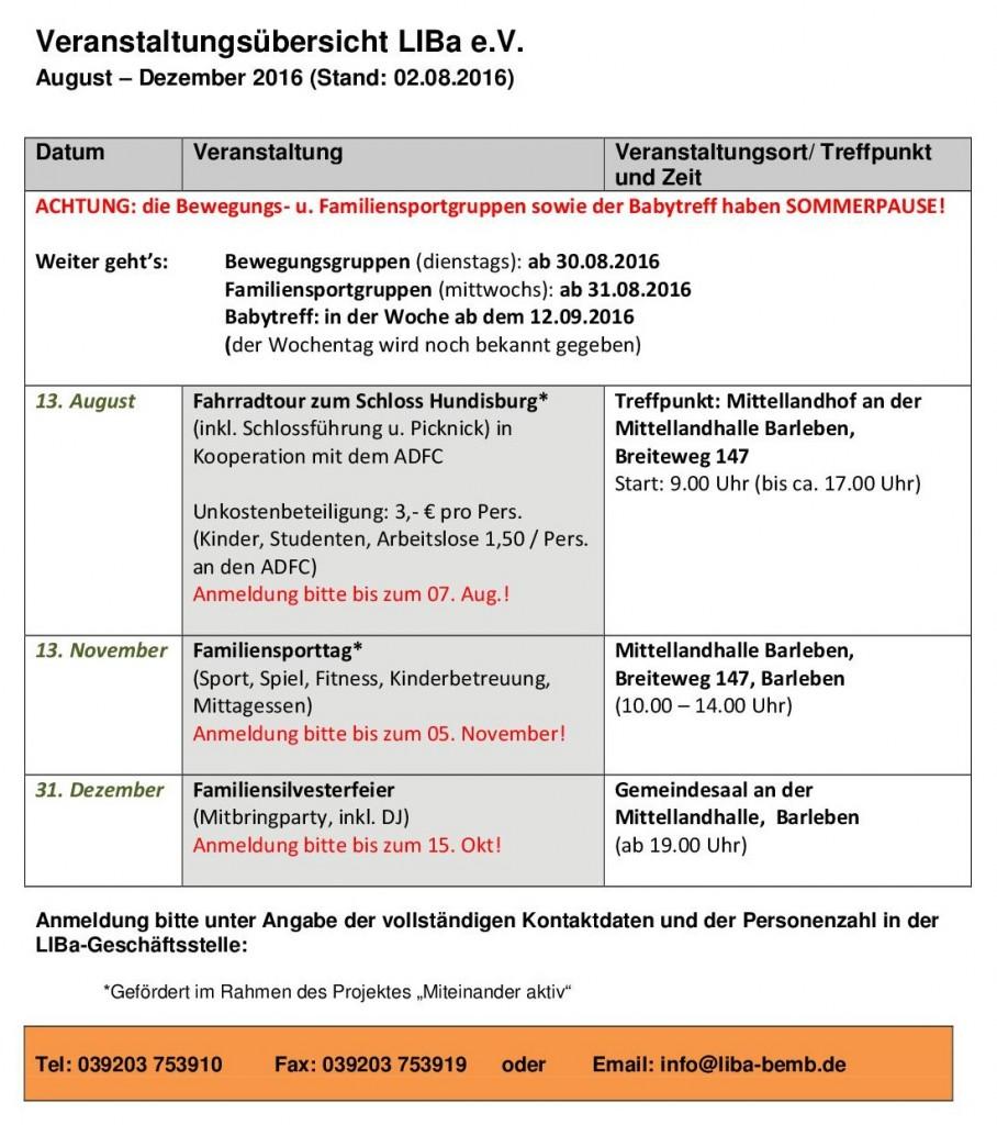 Veranstaltungsübersicht LIBa e V  von Juli-Dezember 2016