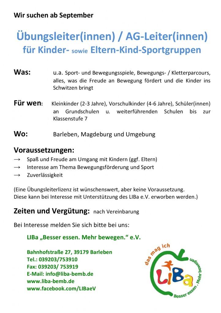 Suche ÜL Kindesportgruppen_072016