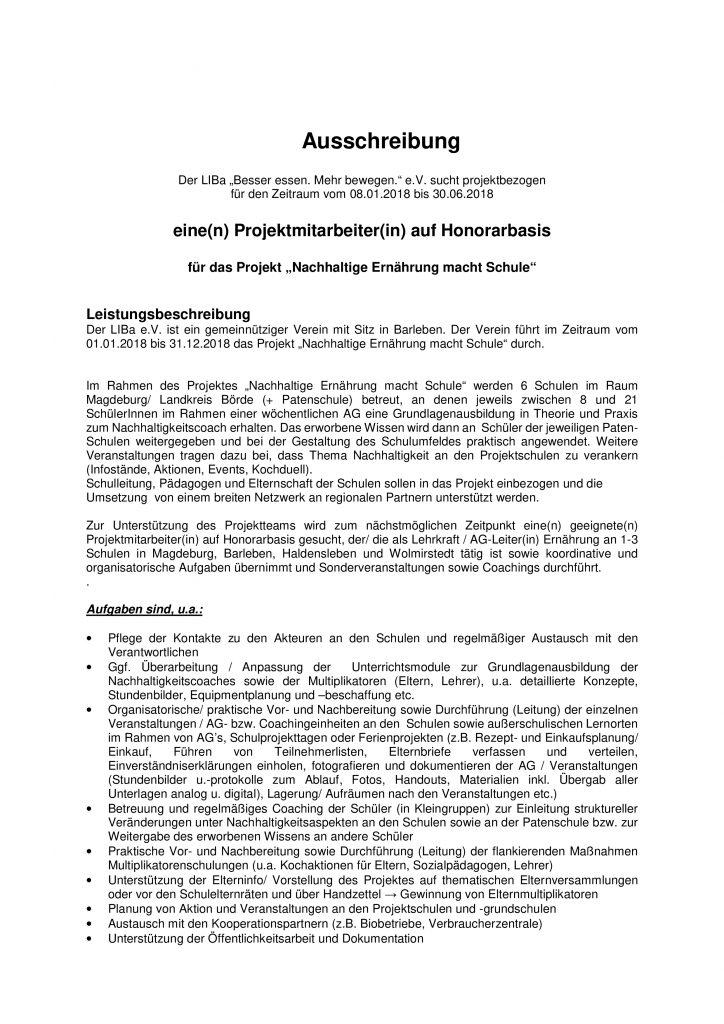 Ausschreibung Oecotrophologin1. Halbjahr20181